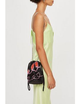Heart Beaded Drawstring Cross Body Bag by Topshop