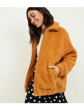 Mustard Faux Teddy Fur Bomber Jacket by New Look