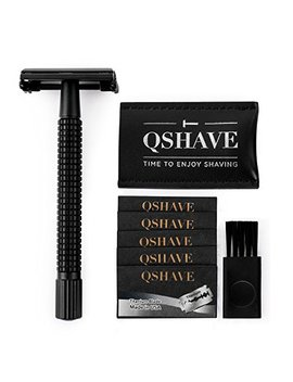 Qshave Double Edge 4 Inch Long Handle Safety Razor Twist Butterfly Open Matte Black Steel Coating (1 Razor + 5 Pcs Titanium Coated Blades + Leather... by Qshave