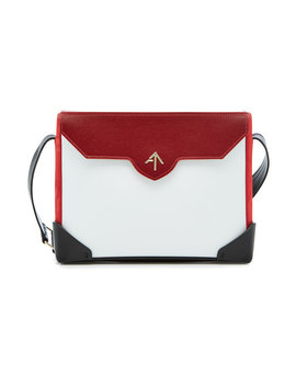 Bold Leather And Suede Shoulder Bag by Manu Atelier
