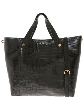 Black Charlie Croc Shopper by Jaeger