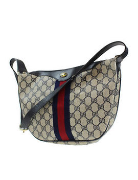 Gucci Gg Plus Web Stripe Shoulder Bag Navy Pvc Canvas Leather Italy Auth #P980 W by Gucci