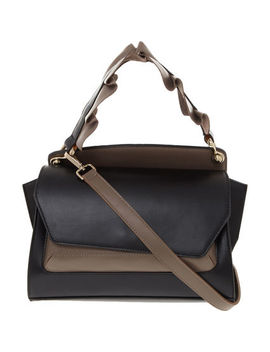 Black Ruffle Leather Grab Bag by Wild Inga