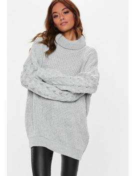 Grey Roll Neck Cable Longline Jumper by Missguided