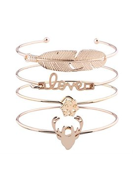 Lucky Grass Multi Layer Leaf Love Snow Elk Multilayer Diamond Star Moon Love Opening Bracelets Four Piece Set (Gold) by Lucky Grass