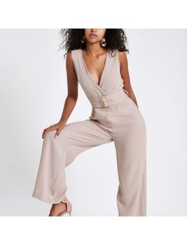 Beige Wide Leg Belted Jumpsuit by River Island