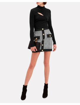 Plaid Mini Skirt by Balmain