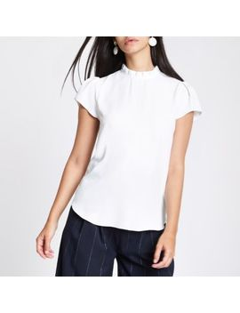 Cream Frill Neck Shell Top by River Island