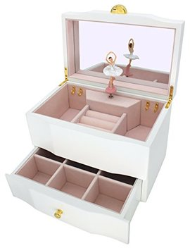 Attii Ballerina Jewelry Box Wooden Music Box For Girls With Drawer And Large Mirror, Waltz Of The Flowers (The Nutcracker) Tune, White by Attii