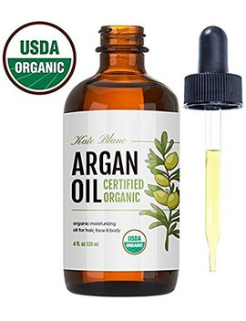 Moroccan Argan Oil (4oz), Usda Certified Organic, Virgin, 100 Percents Pure, Cold Pressed By Kate Blanc. Stimulate Growth For Dry And Damaged Hair. Skin Moisturizer. Nails Protector. 1 Year Guarantee. by The Dojo