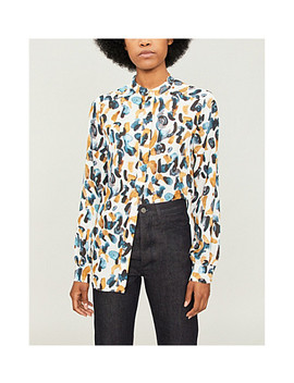 Giselle Graphic Print Crepe Blouse by Reiss