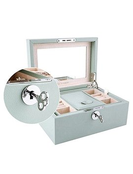 Vlando Retro Lockable Wooden Jewelry Box Organizer W/Large Mirror & Key   Microfiber Pu Leather Case   Best Gifts For Women Girls   Aqua Green by Vlando