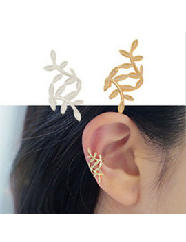 Korean Women Earring Ear Cuff Clip Mental Leaf Earrings Wrap No Piercing Gold Silver/Color Wedding Jewelry Girls Gift by Faitolagi