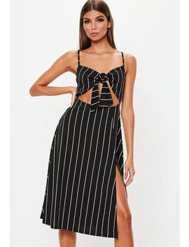 Black Tie Front Stripe Midi Dress by Missguided