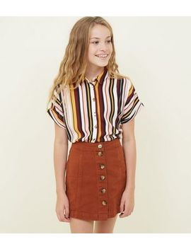 Orange Faux Horn Button Denim Skirt by New Look