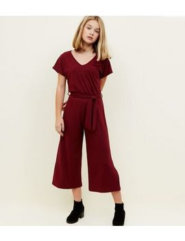 Girls Burgundy Ribbed Belted Culotte Jumpsuit by New Look