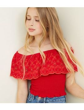 Girls Red Floral Cut Out Shirred Bardot Top by New Look