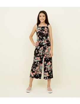 Girls Black Floral Square Neck Jumpsuit by New Look