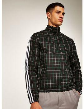 Black Side Stripe Checked Harrington Jacket by Topman