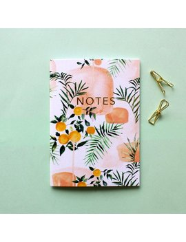 A6 Tangerine Tropics Pocket Notebook With Gold Foiling by Etsy