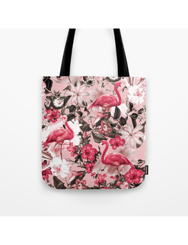 Floral And Flemingo Iii Pattern Tote Bag by