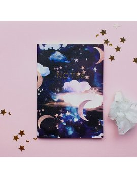 Celestial Stardust Moon Pocket A6 Notebook With Gold Foiling by Etsy