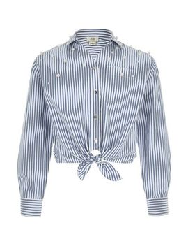 Girls Blue Stripe Pearl Tie Front Shirt by River Island