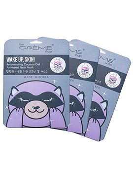 The Crème Shop   Wake Up, Skin! (Raccoon Face Mask) 3 Piece Value Set   Coconut Gel & Hyaluronic Acid by The Creme Shop