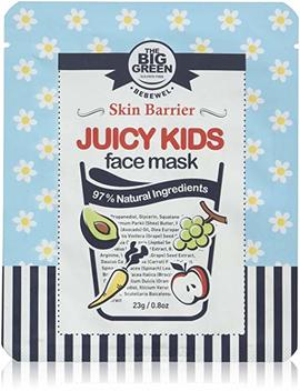 Big Green Natural Juicy Kids Face Mask 0.8 Oz  5 Sheets, Ewg Verified, Soothing,Healing Moisturizing,Calming,Ecocert Certified Squalane,Vitamins & Mineral by Biggreen