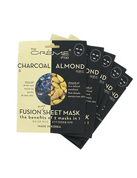 The Crème Shop   Charcoal & Almond Black Sheet Mask (5 Mask Pack) by The Creme Shop