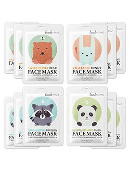 Lookatme Animal Face Mask   12 Premium Cute Face Sheet Masks For Purifying, Energizing, Smoothing, Moisturizing. Awesome Korean Skin Care by Look At Me