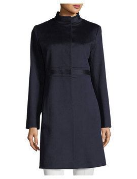 Stand Collar Banded Waist Wool Coat by Fleurette