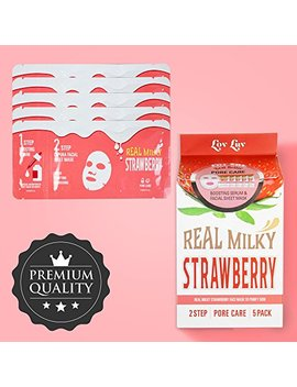 Lovluv Real Milky Strawberry Face Masks, K Beauty Moisturizing And Hydrating Facial Sheet Set, Two Step Skin Care Essence [5 Pack] by Lovluv