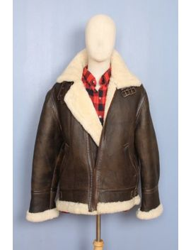 Awesome B 3 B3 Brown 100 Percents Shearling Sheepskin Real Leather Bomber Pilot Jacket S by Unbranded