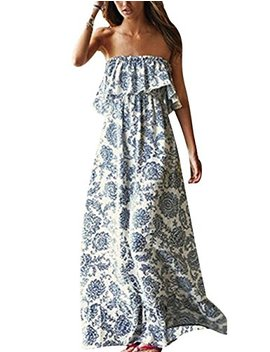 Yidarton Women Summer Blue And White Porcelain Strapless Boho Maxi Long Dress by Yidarton