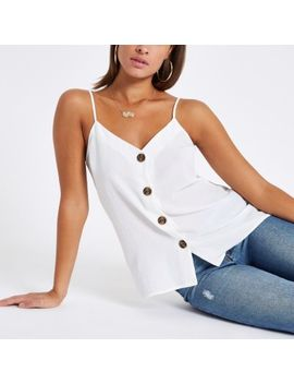 White Button Front Cami Top by River Island