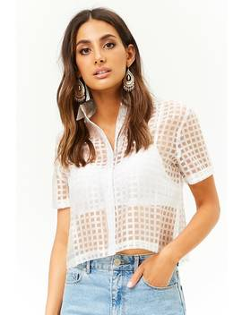 Sheer Grid Top by Forever 21
