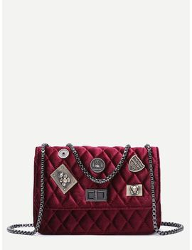 Maroon Embellished Boxy Quilted Crossbody Chain Bag by Sheinside