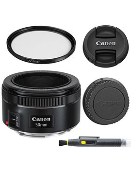 Canon Ef 50mm F/1.8 Stm: Lens With Glass Uv Filter, Front And Rear Lens Caps, And Deluxe Cleaning Pen, Lens Accessory Bundle 50 Mm F1.8   International Version by Aom