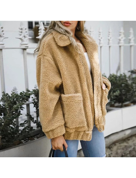2018 Winter Woman Camel Warm Hairly Jacket Faux Lambswool Oversized Jacket Coat Women Autumn Outerwear New Female Overcoat by Yuancolor
