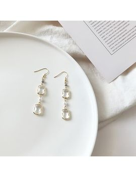 Show Mind   Faux Pearl & Glass Dangle Earring by Show Mind