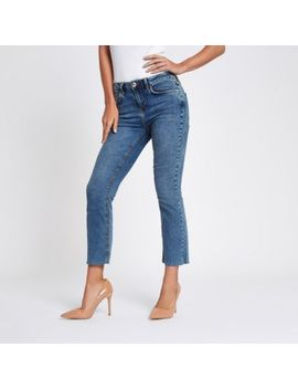 Blue Denim Cropped Flare Jeans by River Island