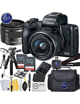 Canon Eos M50 Mirrorless Camera W/15 45mm (Black) + 2 X 32 Gb + Deluxe Photo Bundle by K&M