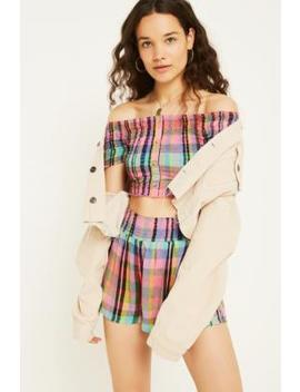 Uo Madras Check Print Bardot Top by Urban Outfitters