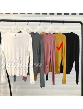 Women Fashion Long Sleeve O Neck T Shirt Simple Soft Elasticity Tops Threaded Long Sleeve 5 Colors by Sexelanlan