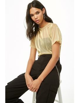 Metallic Sheer Mesh Tee by Forever 21