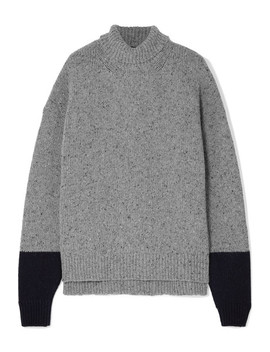 Two Tone Wool Blend Turtleneck Sweater by Alexachung