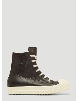 Hi Top Sneakers In Black by Rick Owens