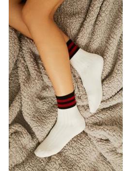 Printed Varsity Stripe Crew Socks by Urban Outfitters