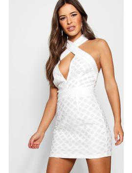 Petite Halter Neck Corded Lace Bodycon Dress by Boohoo
